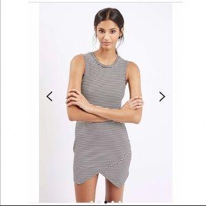 ASOS}• striped asymmetrical body con dress